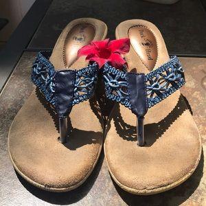 Duck Head Blue Basket Weave & Leather Sandals